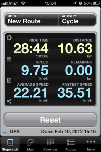 Screen capture of the Cyclemeter app