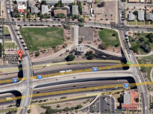 A map of the temporary site of the downtown Phoenix dog park.